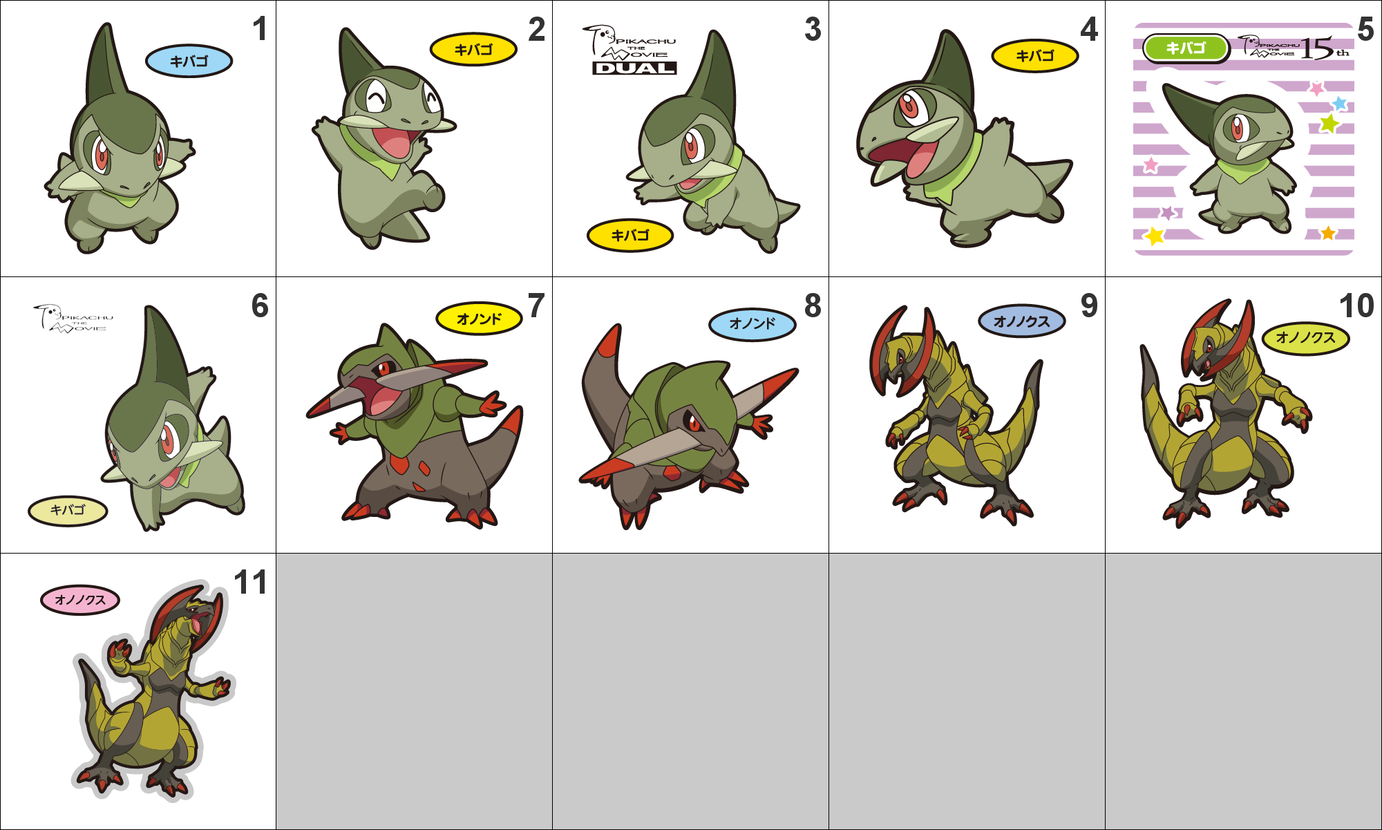 610, 611, 612 Axew, Fraxure, Haxorus Pan Stickers Pokemon ...