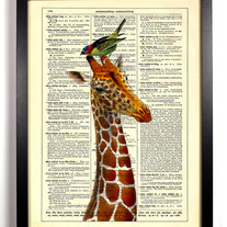 Image of Giraffe With Bird Friend, Vintage Dictionary Print, 8 x 10