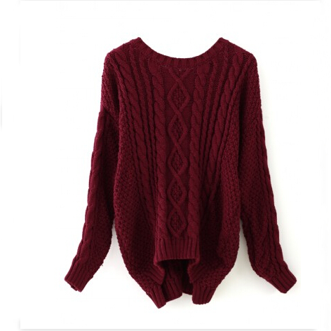 Wine Red Round Neck Cable Knit Sweater 091704 Fashion Designer