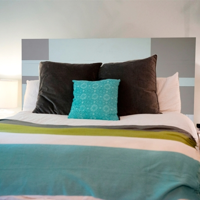 2 color painted plank wood headboard