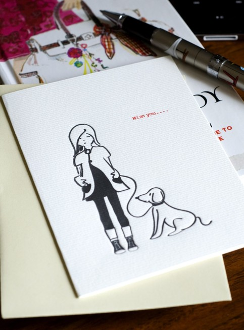Hand letterpressed Card - Miss you....