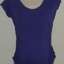 Short Sleeve Purple Shirt with Ruched Sides-Liz Lange Maternity Size Small  GS513