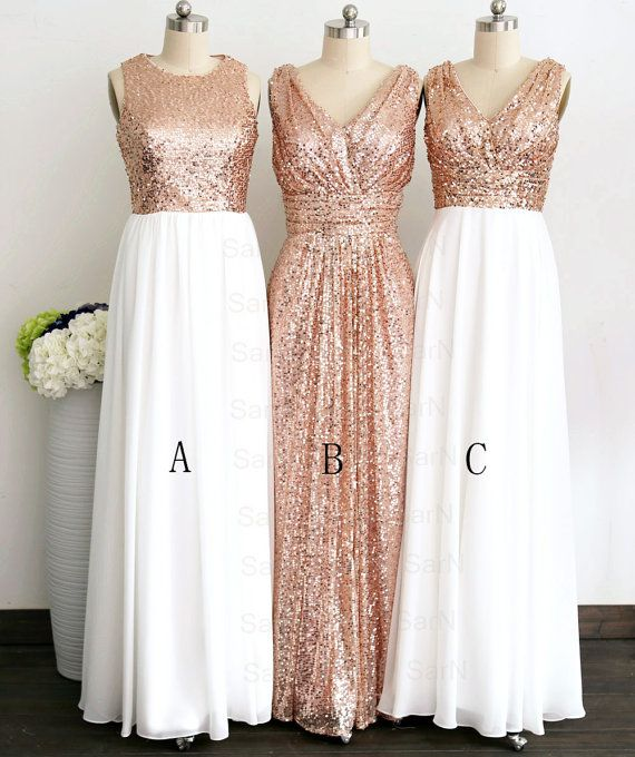 Gliiter Rose Gold Sequins Bridesmaid Dress White Chiffon Long Bridesmaid  Dresses Custom Color Formal Women Prom