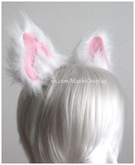 Superfluffy White Cat Ears (choose inner ear color black pink white) & Superfluffy White Cat Ears (choose inner ear color: black pink ...