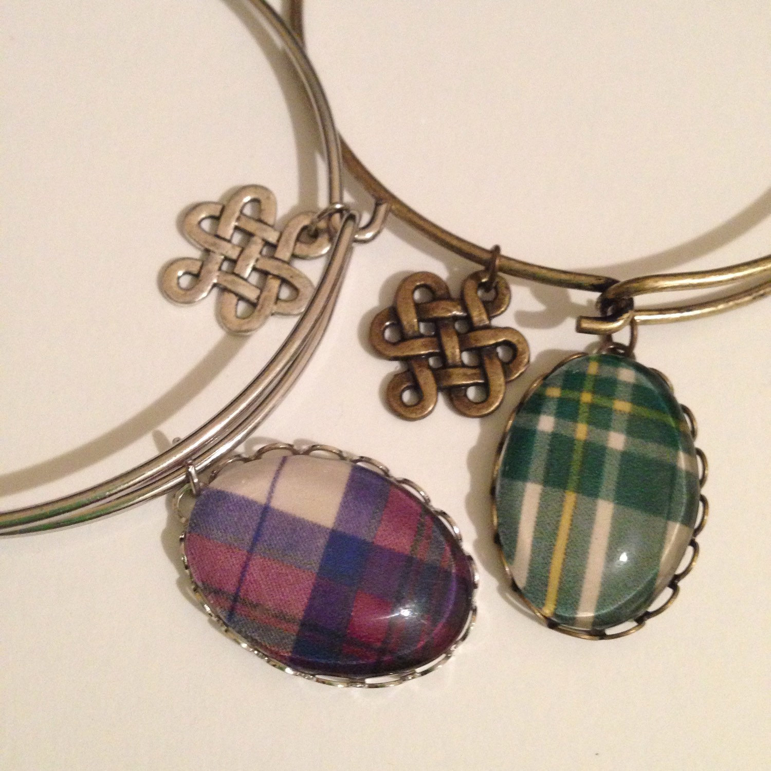 custom tartan bangle bracelet with loopy setting
