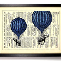 Image of High In The Sky Elephants Balloon Ride, Vintage Dictionary Print, 8 x 10