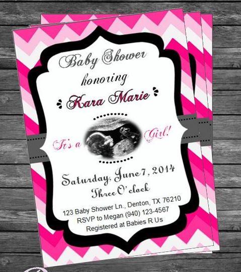 Pink chevron baby shower invitation invitations more by terra pink chevron baby shower invitation filmwisefo