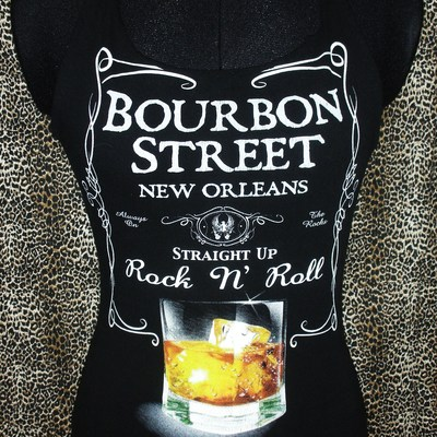 "Bourbon street ""straight up, rock n roll"" reconstructed halter top, size xs/s"