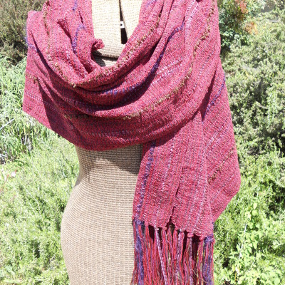 Marsala wine - dark red chenille shawl