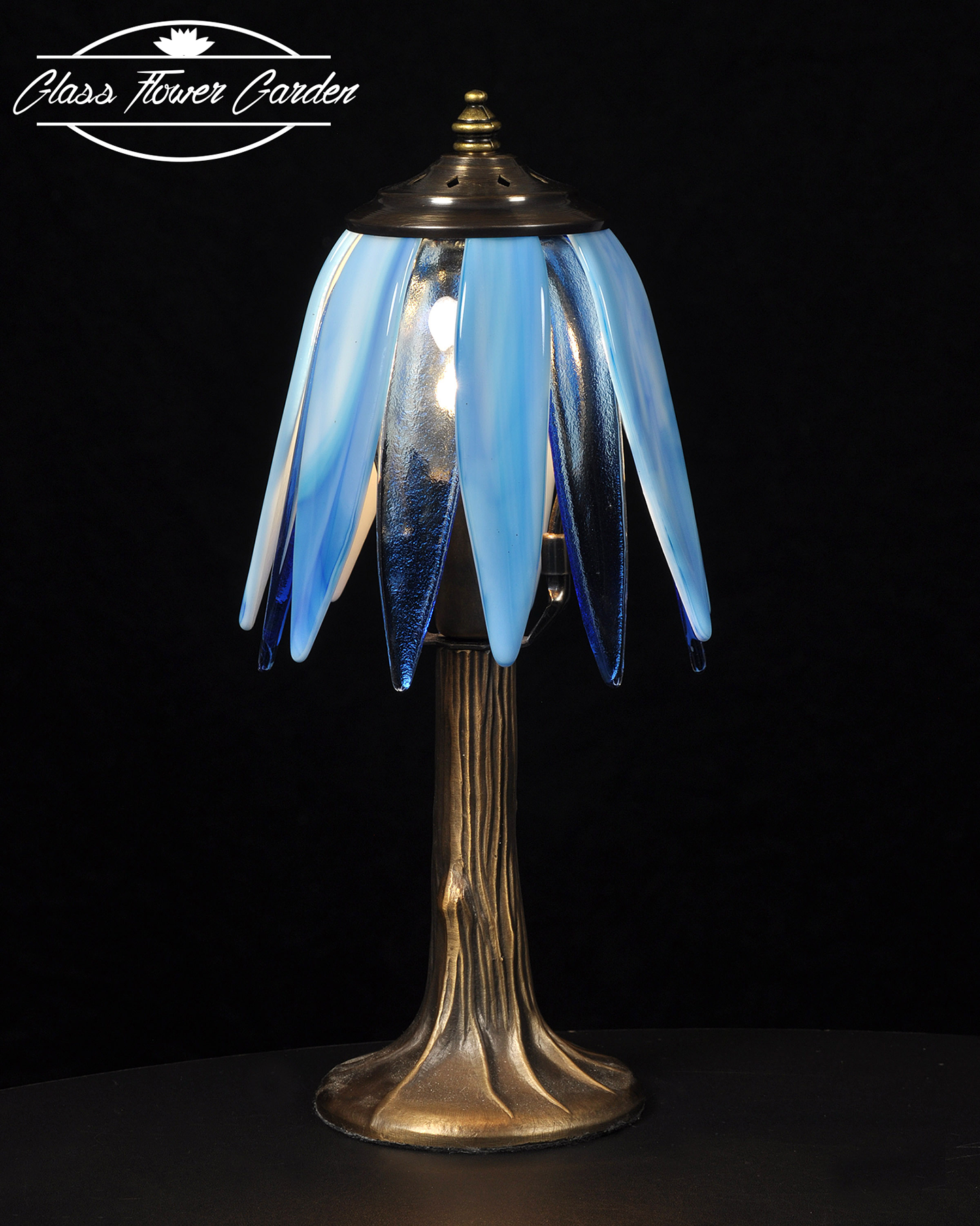 Blue moon glass shaded lamp glass flower garden online store blue moon glass shaded lamp mozeypictures Gallery