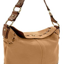 Suede Twist Lock Handbag
