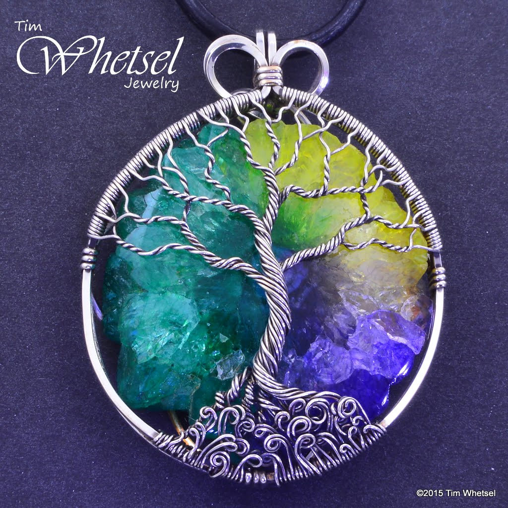 Sterling Silver Tree of Life Pendant - Solar Quartz Crystal - Wire ...