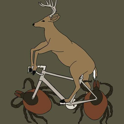 Deer riding bike with deer tick wheels 5x7 print
