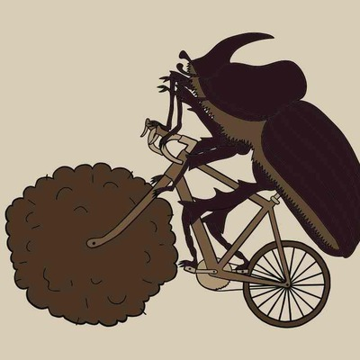 Dung beetle riding bike with dung wheel 5x7 print