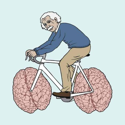 Albert einstein riding bike with brain wheels 5x5 print