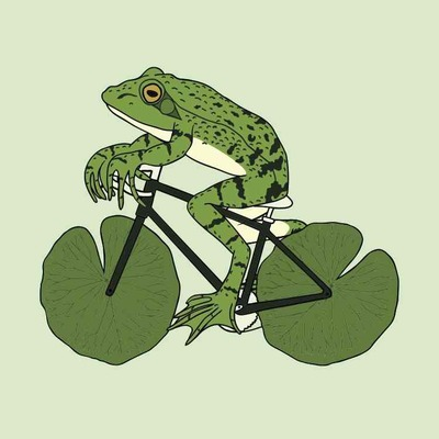 Frog riding bike with lily pad wheels 5x5 print