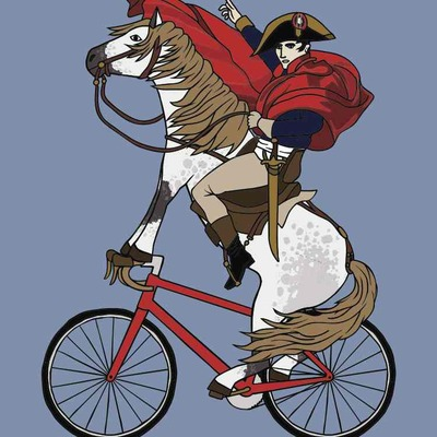 Making of napoleon riding horse riding bike illustration 5x7 print
