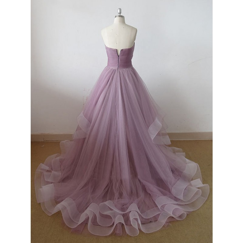 Tulle prom dresses a line prom dress simple prom dress for Simple cream colored wedding dresses