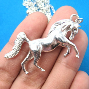 Silver Realistic Horse Animal Pendant Necklace in Silver