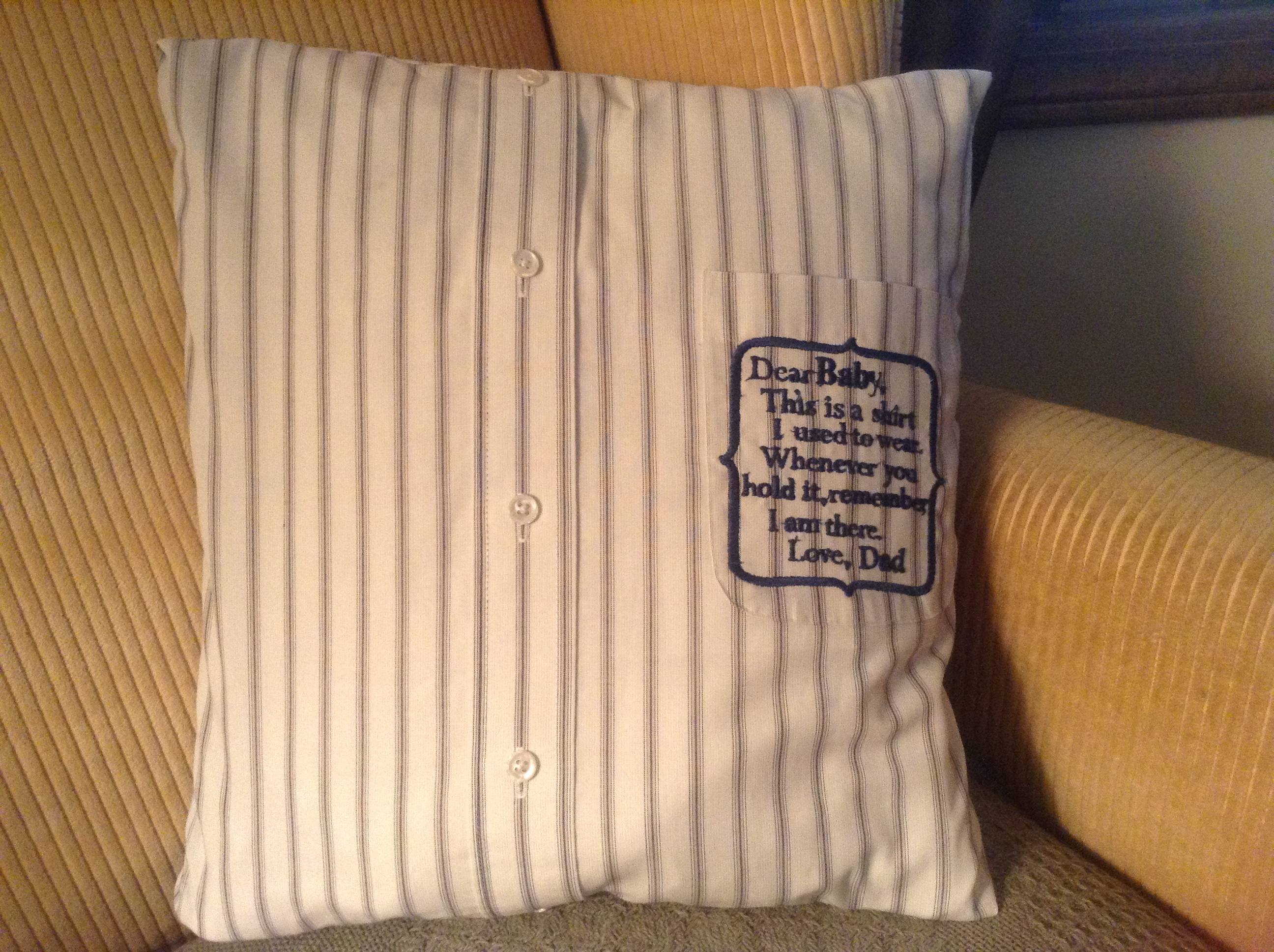 Memory Pillow With Personalized Embroidery Message Its Only
