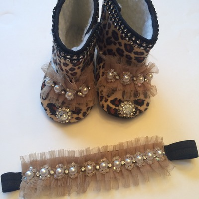 Little miss leopard boots & headband