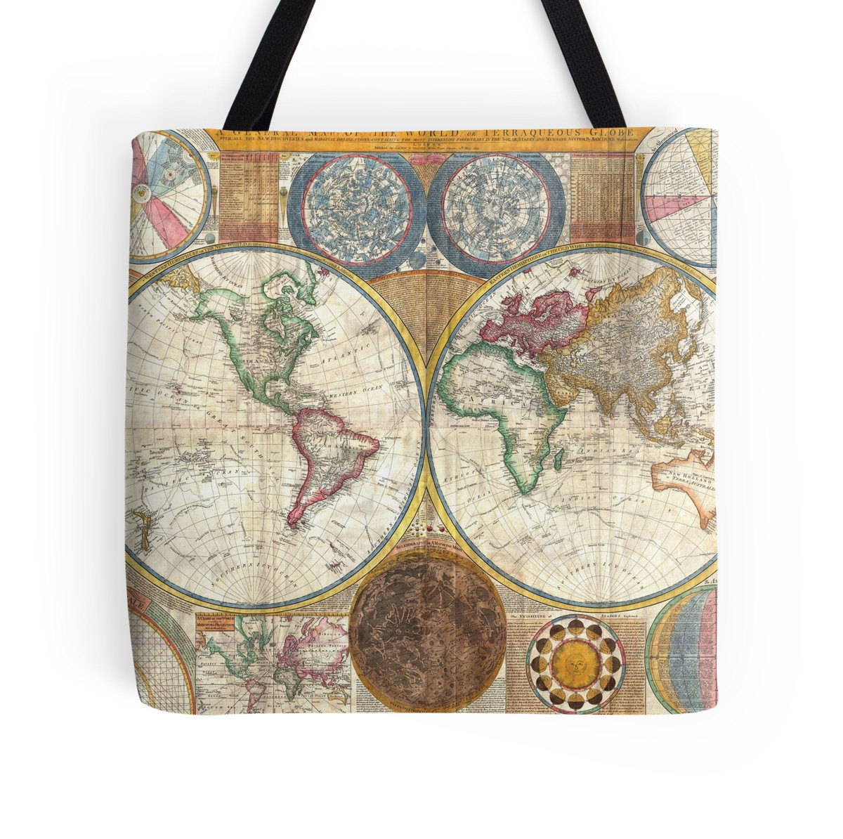 Ancient Vintage World Map Tote Bag. Canvas Tote Bag. Fabric Market ...