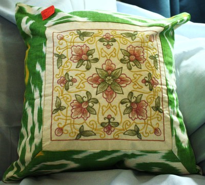Embroidered pillowcase; from ferghana valley in uzbekistan