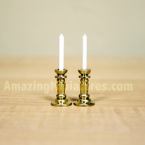 Brass Candlesticks, 2 Pcs Dollhouse Miniatures
