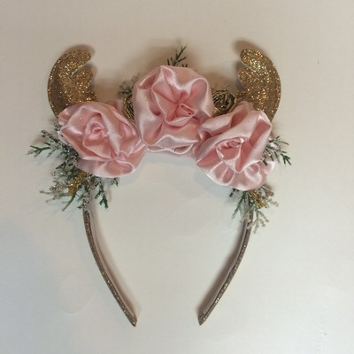 little miss pink reindeer headband