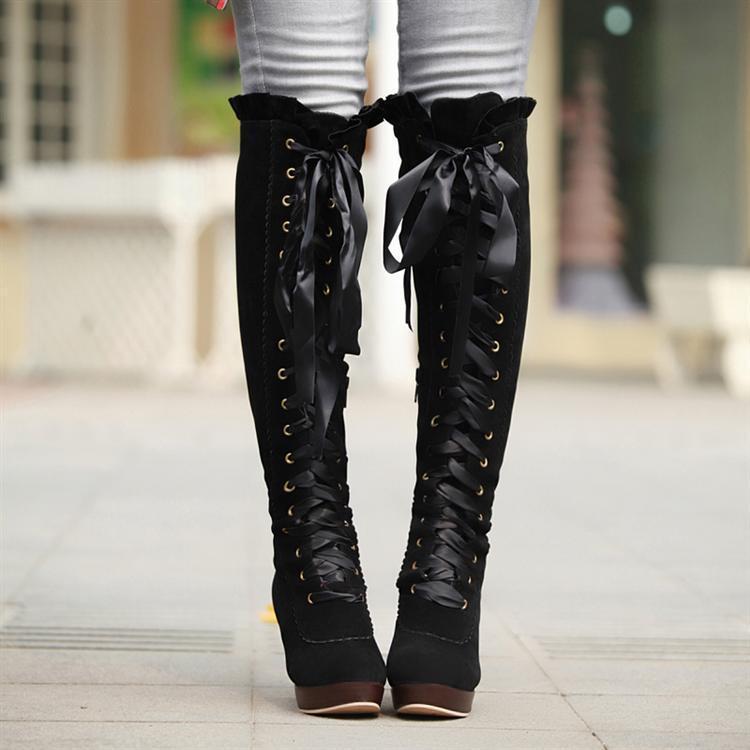 Lady fashion lace up bow boots · Cute Kawaii {harajuku fashion ...