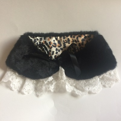 Glamour faux fur black shawl