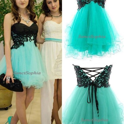 Knee Length Mint Green Homecoming Dress,Sexy Black Lace Graduation ...
