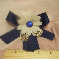 Dark blue, Daisy and gem bow