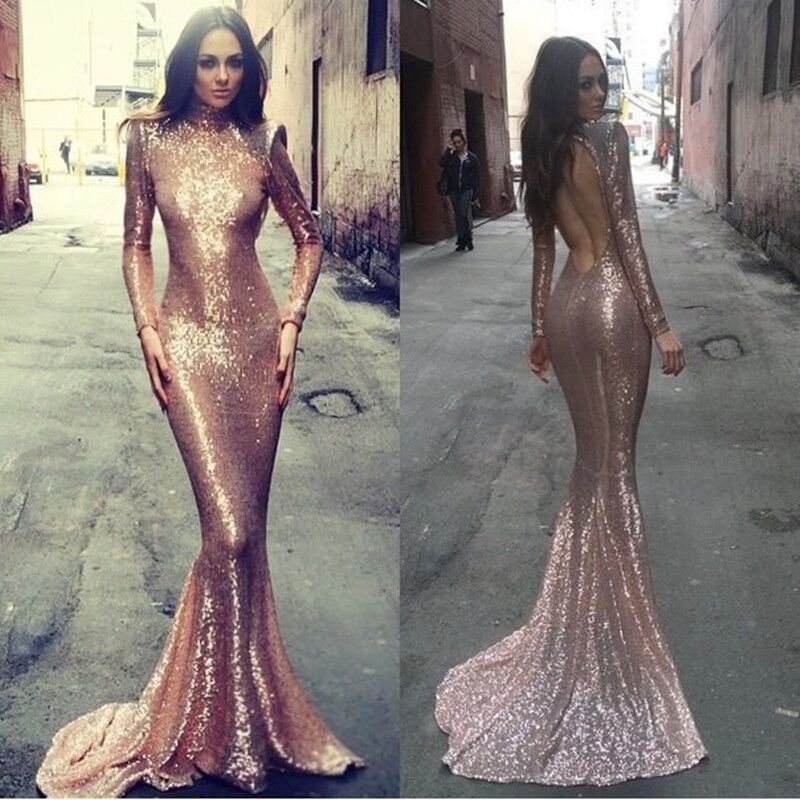 Long sleeve mermaid prom dress rose gold prom dresses sequin ...