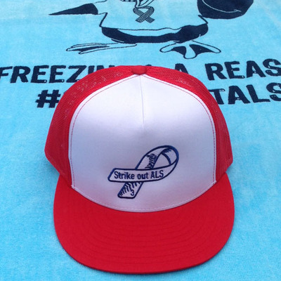 Red frate train trucker hat