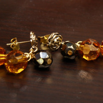 Yellow Roses and Hematite Dangle Earrings