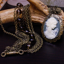 Doubled Cameo Antiqued Brass Necklace