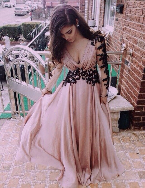 Top Selling Deep V Neck Long Sleeves Lace Skin Pink A Line Long Prom