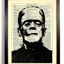 Image of Frankenstein, Vintage Dictionary, 8 x 10