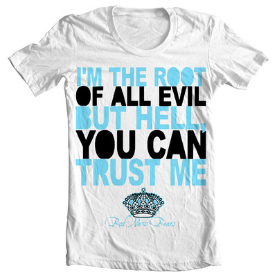 """root of all evil"" white t-shirt"