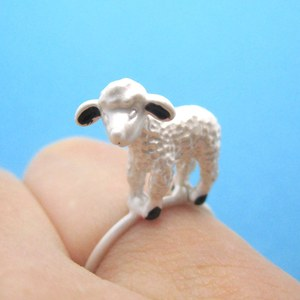 3D Super Cute Animal Ring With a Small Lamb in Silver