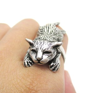 Realistic Sleeping Cat Shaped Large Animal Themed Ring in Silver