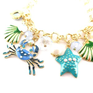 Sea Creatures Themed Crab Starfish Sea Shell Enamel Charm Bracelet