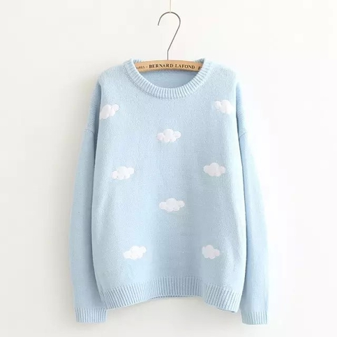 Free Shipping Cute Round Neck Cloud Knitted Pullover