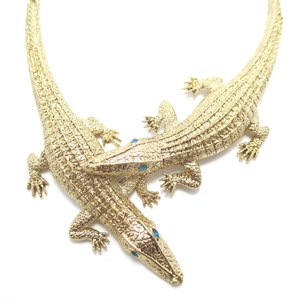 Large Crocodile Shaped Statement Wrap Necklace in Gold