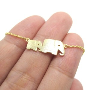 Classic Elephant Mother and Baby Family Charm Bracelet in Gold