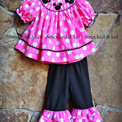 Smocked minnie mouse pink polka dot triple ruffle pants set outfit