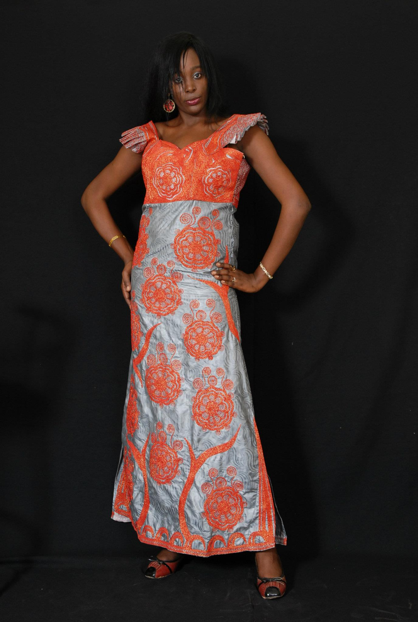 African women s grey clothing with embroidery · new