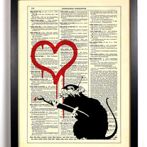 Image of Banksy Love Rat, Vintage Dictionary, 8 x 10