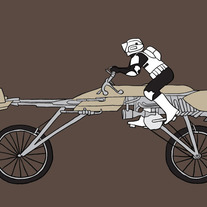 Clone trooper riding speeder bike, 5x7 print